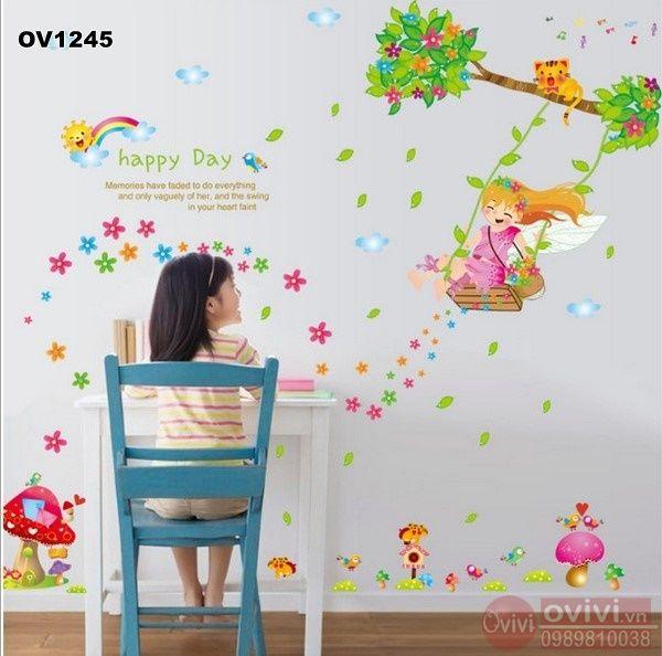 tranh dán tường cho bé gái
