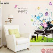 decal dán tường đàn piano hoa