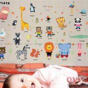 Decal dán tường hình con vật cho bé